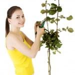 Happy gardener using pruning scissors. — Stock Photo