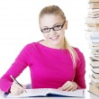 Happy student girl learning — Stock Photo