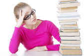 Stack student girl learning — Stock Photo