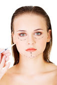 Cosmetic botox injection in the female face — 图库照片