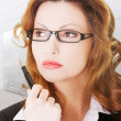 Thoughtful pretty businesswoman — Stock Photo