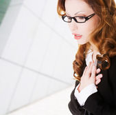Business woman feeling heart pain — Stock Photo