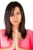 Young pretty girl praying — Stock Photo