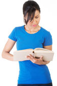 Young woman reading an old book — Stock Photo