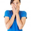 Young scared woman covering the mouth — Stock Photo