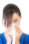 подросток женщина с аллергией или холодной — Стоковое фото