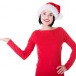 Noel Baba kız ürün sunumu — Stok fotoğraf