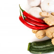 Stock Photo: Zucchini, imbir,garlic and red hot chilie peppers