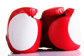 Red leather boxing gloves — Stock Photo