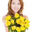 Happy woman with yellow roses — Stock Photo