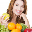 Beautiful woman with fruits — Stock Photo