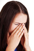 Teen woman with sinus pressure pain — Stock Photo