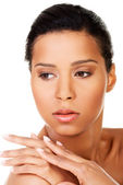 Beautiful and young woman's face. Closeup. — Stock Photo