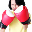 Attractive young woman with boxing gloves. — Stock Photo