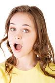 Rosto de mulher atraente em choque expresstion. — Fotografia Stock