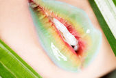 Detailed closeup of female's lips. Colorful makeup. — Stock Photo