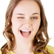 Beautiful young woman's face. She's smiling. — Stock Photo