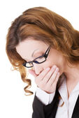 Business woman covering her mouth in nausea. — Stock Photo