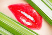 Red lips closeup wit green material on both sides. — Stock Photo