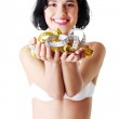 Attractive woman in bra with measuring tapes. — Stock Photo