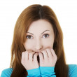 Attractive casual woman expressing fear or worries. — Stock Photo #35629251