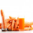 Carrots and carrot juice. — Stock Photo