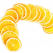 Stock Photo: Slices of orange over white.