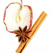 Slice of an apple with star anise and cinnamon.  — Stock Photo