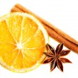 Slice of orange, star anise and cinnamon. — Stock Photo