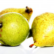 Three fresh pears over white. — Foto Stock