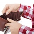 Casual woman showing her empty wallet. — Stock Photo