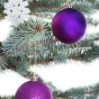 Christmas balls handing on a tree. — Stock fotografie