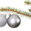 Two silver christmas balls hanging on a fir. — Lizenzfreies Foto