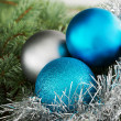 Three christmas ball on a tree. — Stok fotoğraf