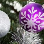 Two chriustmas balls hangind on a tree. — Stock Photo