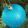 One blue christmas ball handing on a tree. — Stock fotografie