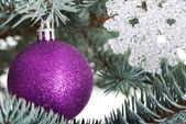 Christmas balls handing on a tree. — Stock Photo