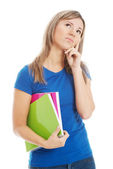 Young casual student holding workbook and thinking. — Stock Photo