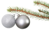 Two silver christmas balls hanging on a fir. — Stock Photo
