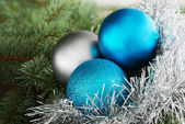 Three christmas ball on a tree. — Stock Photo