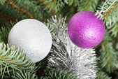 Two chriustmas balls hangind on a tree. — Stock Photo
