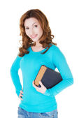 Attractive casual woman with close book. — Stok fotoğraf