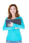 Attractive casual woman holding an open book. — Stok fotoğraf