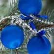 Three christmas balls on a tree. — Foto Stock