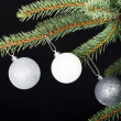 Three christmas balls hanging on a twig. — Stock Photo