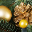 Christmas decorations- pine, balls on a tree. — Stock Photo