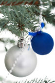 Two christmas balls on a twig. — Stock Photo