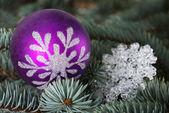 木の上の 1 つのクリスマス ボール. — ストック写真