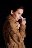 Young woman is having depression. — Stock Photo