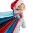 Beautiful woman in santa hat carrying shopping bags. — Stock Photo #36907533